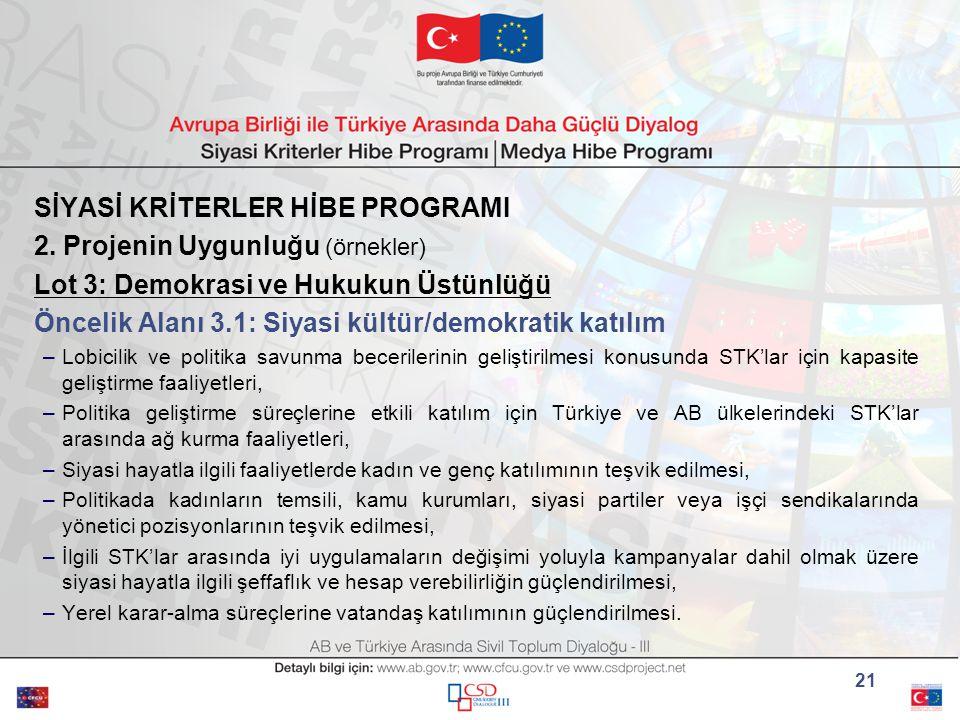 SİYASİ KRİTERLER HİBE PROGRAMI 2.