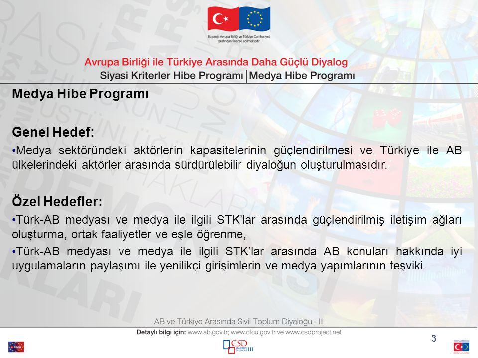 3 Medya Hibe Programı Genel Hedef: Medya sektöründeki aktörlerin kapasitelerinin güçlendirilmesi ve Türkiye ile AB ülkelerindeki aktörler arasında sürdürülebilir diyaloğun oluşturulmasıdır.
