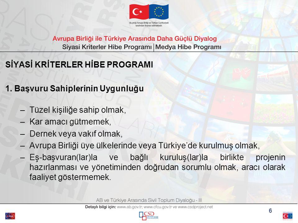 SİYASİ KRİTERLER HİBE PROGRAMI 1.