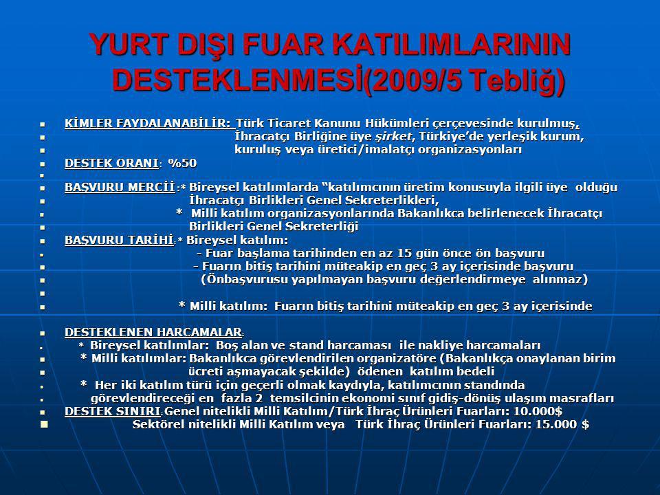 YURT DIŞI FUAR KATILIMLARININ DESTEKLENMESİ(2009/5 Tebliğ) KİMLER FAYDALANABİLİR: Türk Ticaret Kanunu Hükümleri çerçevesinde kurulmuş, KİMLER FAYDALAN