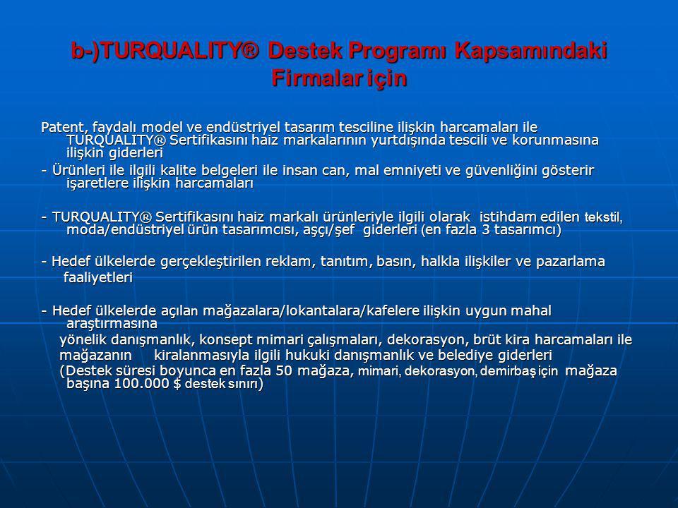 b-)TURQUALITY® Destek Programı Kapsamındaki Firmalar için Patent, faydalı model ve endüstriyel tasarım tesciline ilişkin harcamaları ile TURQUALITY® S