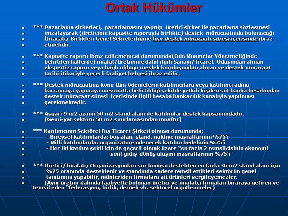 HATIRLATMA 1.Belge Alımından/raporun düzenlendiği tarihten itibaren altı aylık süre içinde başvurmayı 2.Desteğe konu belgeler (sertifika, fatura, ödeme belgesi vb.) yurtdışında düzenlenmiş ise yurtdışındaki Türk Ticaret Müşavirliğince onaylanması gerektiğini, 3.Ödemelerin bankacılık kanalıyla yapılması şartı bulunduğunu 4.Belirtilen harcamaların belgenin alımına yönelik olması durumunda destek kapsamında değerlendirildiğini Unutmayınız.!!