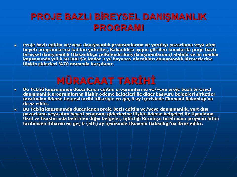 PROJE BAZLI BİREYSEL DANIŞMANLIK PROGRAMI Proje bazlı eğitim ve/veya danışmanlık programlarına ve yurtdışı pazarlama veya alım heyeti programlarına ka
