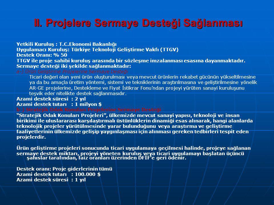 II. Projelere Sermaye Desteği Sağlanması Yetkili Kuruluş : T.C.Ekonomi Bakanlığı Uygulamacı Kuruluş: Türkiye Teknoloji Geliştirme Vakfı (TTGV) Destek
