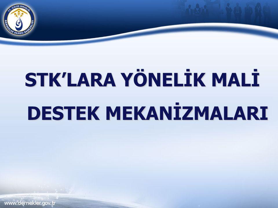 www.dernekler.gov.tr STK'LARA YÖNELİK MALİ DESTEK MEKANİZMALARI