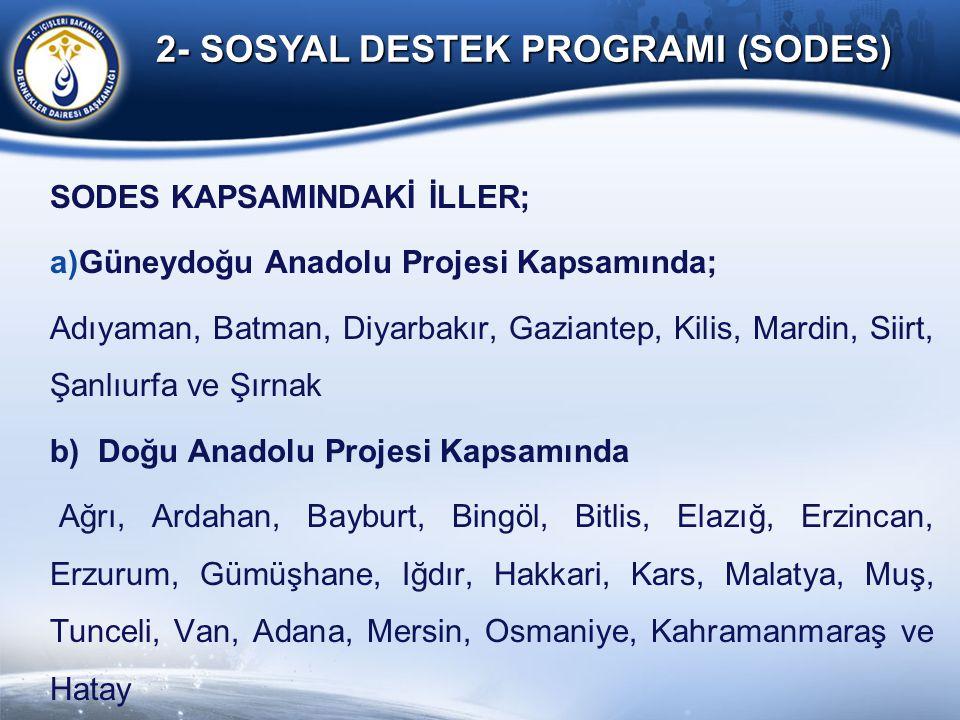2- SOSYAL DESTEK PROGRAMI (SODES) SODES KAPSAMINDAKİ İLLER; a)Güneydoğu Anadolu Projesi Kapsamında; Adıyaman, Batman, Diyarbakır, Gaziantep, Kilis, Ma