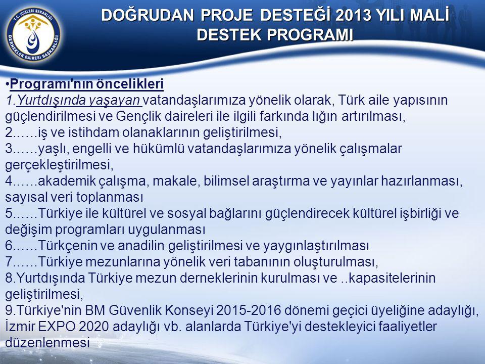 DOĞRUDAN PROJE DESTEĞİ 2013 YILI MALİ DESTEK PROGRAMI Programı'nın öncelikleri 1.Yurtdışında yaşayan vatandaşlarımıza yönelik olarak, Türk aile yapısı