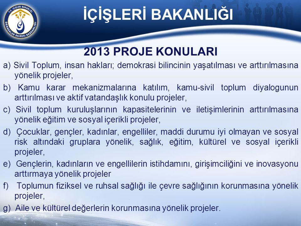 2013 PROJE KONULARI a) Sivil Toplum, insan hakları; demokrasi bilincinin yaşatılması ve arttırılmasına yönelik projeler, b) Kamu karar mekanizmalarına