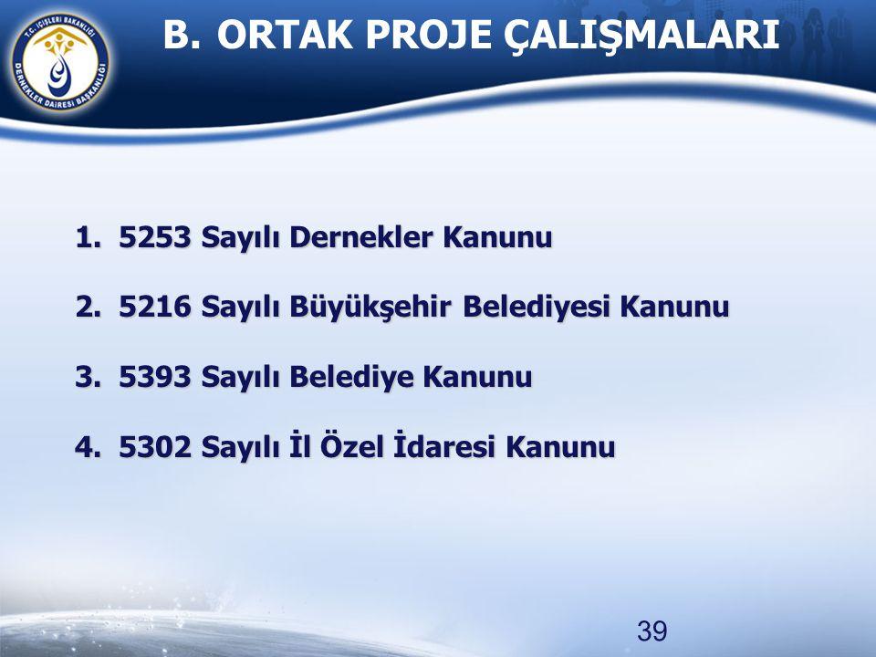 39 1.5253 Sayılı Dernekler Kanunu 2.5216 Sayılı Büyükşehir Belediyesi Kanunu 3.5393 Sayılı Belediye Kanunu 4.5302 Sayılı İl Özel İdaresi Kanunu B. ORT