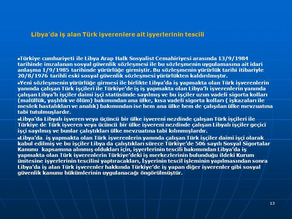 Libya'da iş alan Türk işverenlere ait işyerlerinin tescili Türkiye cumhuriyeti ile Libya Arap Halk Sosyalist Cemahiriyesi arasında 13/9/1984 tarihinde