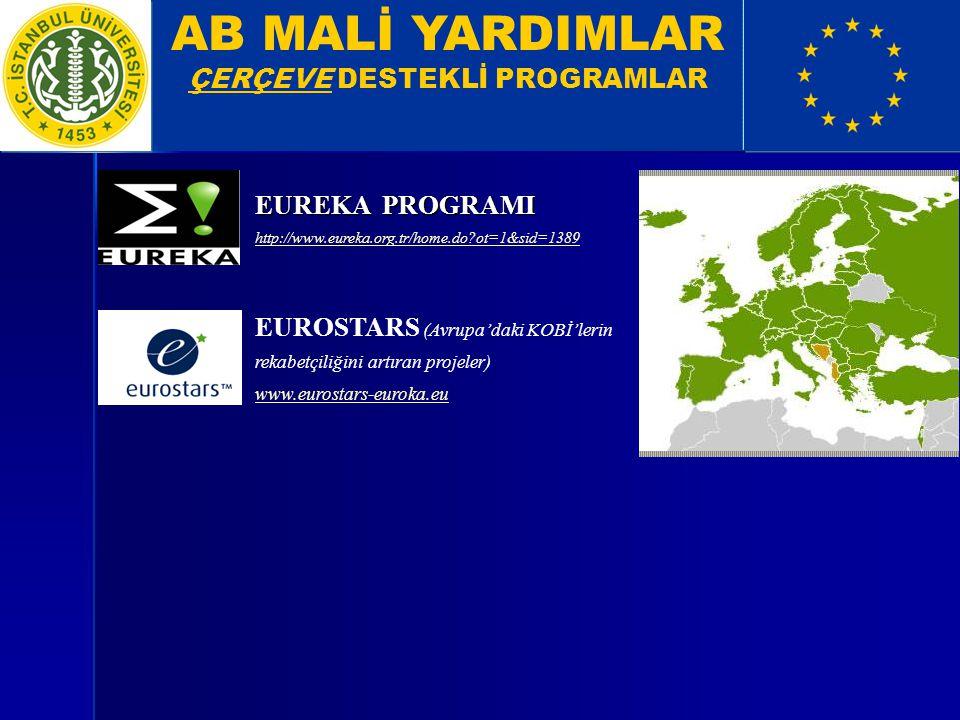 AB MALİ YARDIMLAR ÇERÇEVE DESTEKLİ PROGRAMLAR EUREKA PROGRAMI http://www.eureka.org.tr/home.do?ot=1&sid=1389 EUROSTARS (Avrupa'daki KOBİ'lerin rekabet