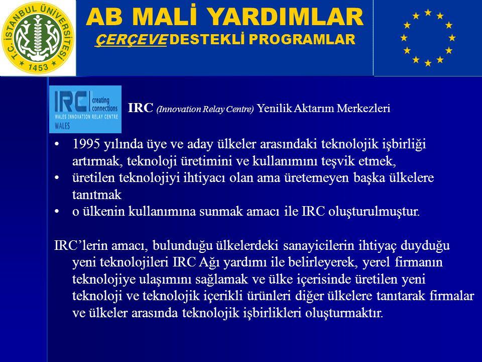 AB MALİ YARDIMLAR ÇERÇEVE DESTEKLİ PROGRAMLAR IRC (Innovation Relay Centre) Yenilik Aktarım Merkezleri 1995 yılında üye ve aday ülkeler arasındaki tek