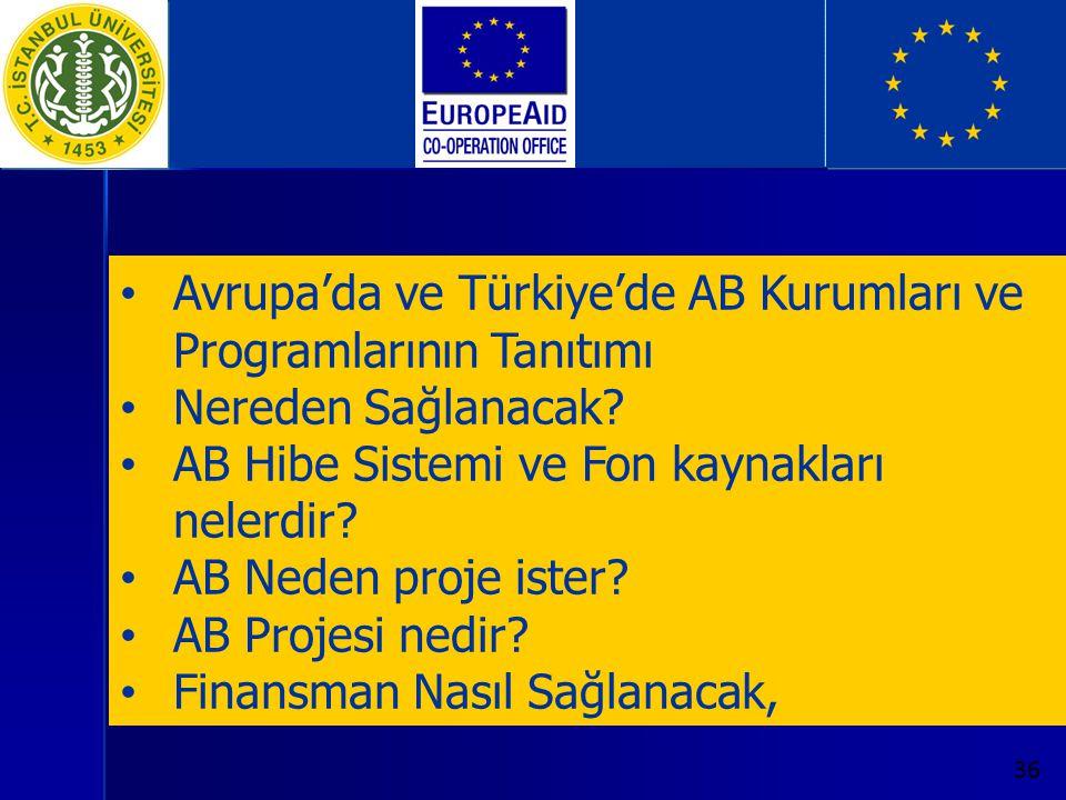 36 Avrupa'da ve Türkiye'de AB Kurumları ve Programlarının Tanıtımı Nereden Sağlanacak? AB Hibe Sistemi ve Fon kaynakları nelerdir? AB Neden proje iste