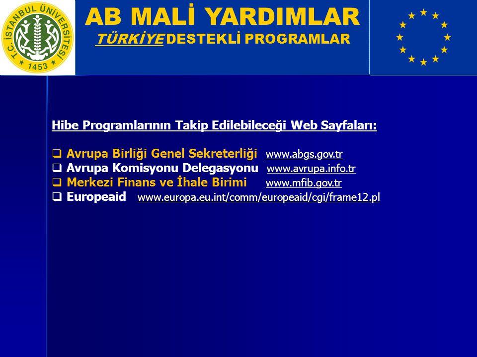 AB MALİ YARDIMLAR TÜRKİYE DESTEKLİ PROGRAMLAR Hibe Programlarının Takip Edilebileceği Web Sayfaları:  Avrupa Birliği Genel Sekreterliği www.abgs.gov.