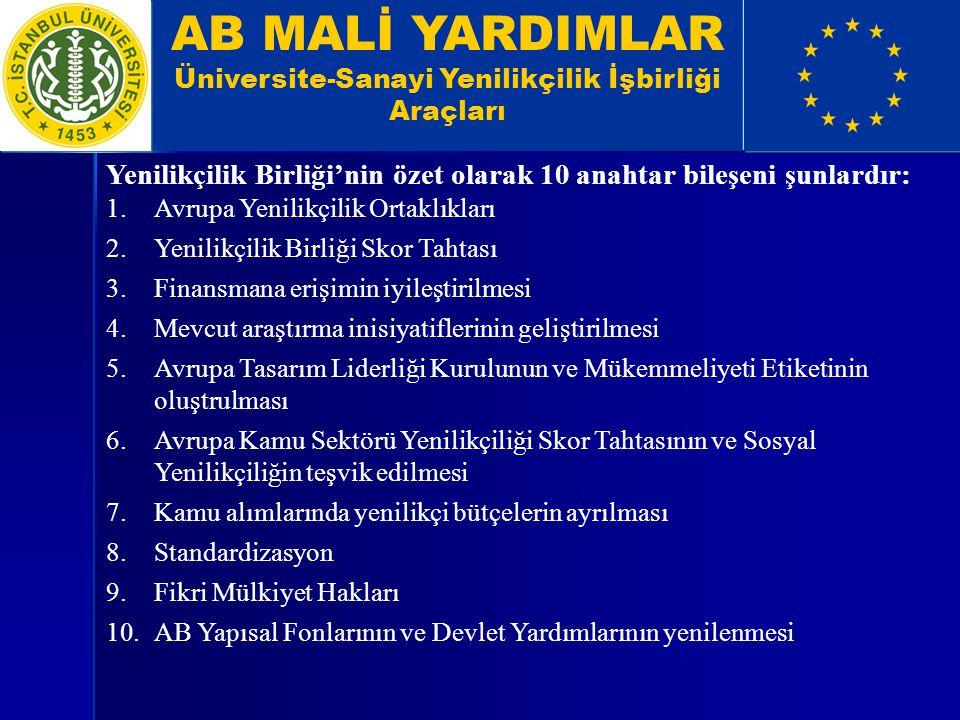 AB MALİ YARDIMLAR Üniversite-Sanayi Yenilikçilik İşbirliği Araçları Yenilikçilik Birliği'nin özet olarak 10 anahtar bileşeni şunlardır: 1.Avrupa Yenil