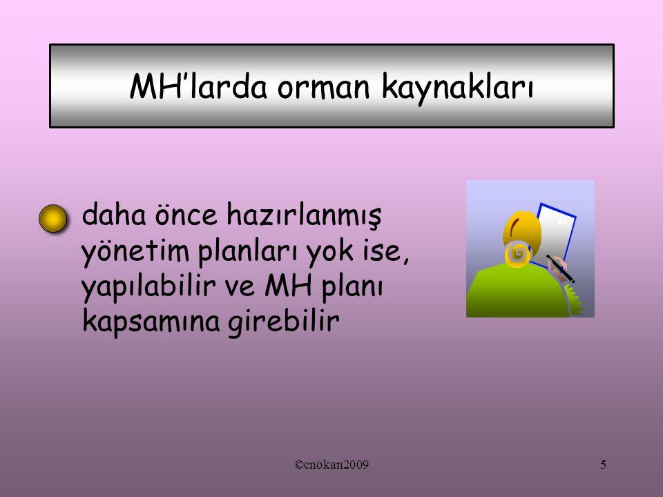 daha önce hazırlanmış yönetim planları yok ise, yapılabilir ve MH planı kapsamına girebilir MH'larda orman kaynakları 5©cnokan2009