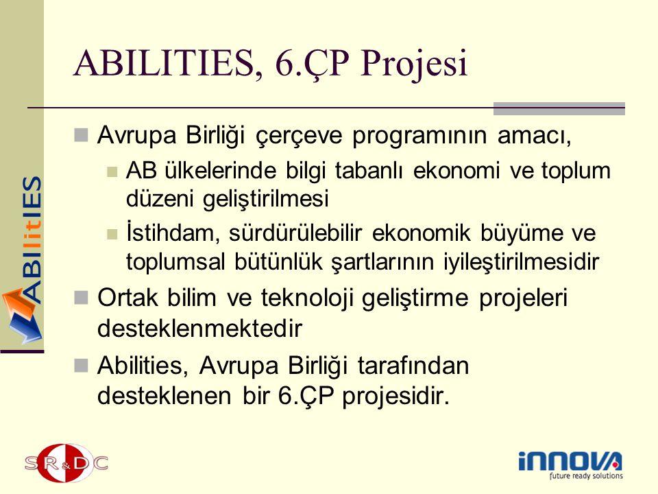 ABILITIES, 6.ÇP Projesi Avrupa Birliği çerçeve programının amacı, AB ülkelerinde bilgi tabanlı ekonomi ve toplum düzeni geliştirilmesi İstihdam, sürdü