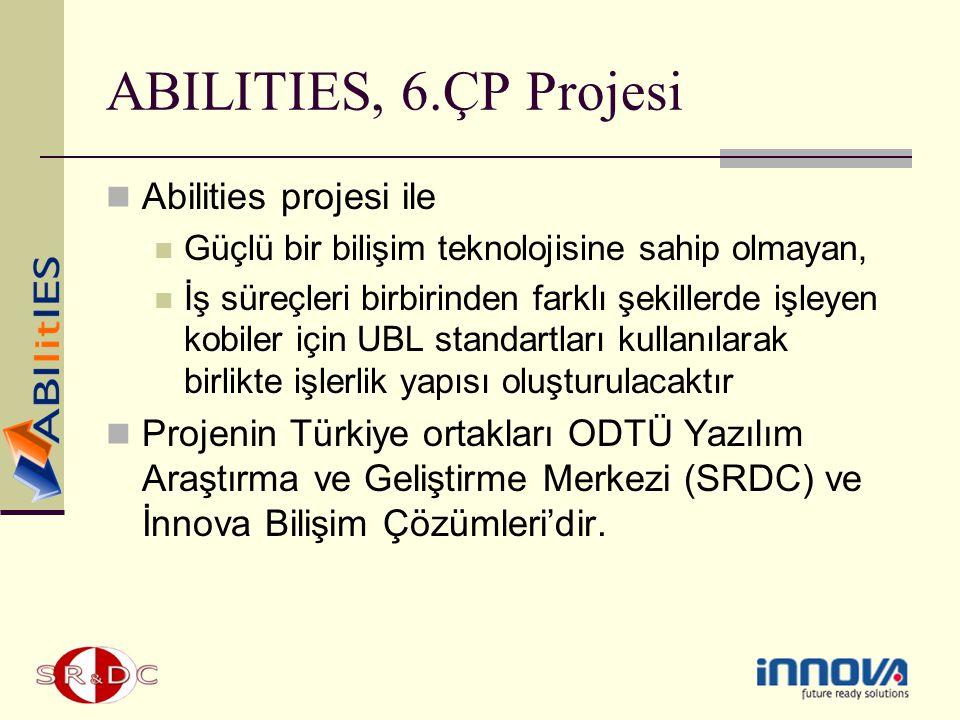ABILITIES, 6.ÇP Projesi Abilities projesi ile Güçlü bir bilişim teknolojisine sahip olmayan, İş süreçleri birbirinden farklı şekillerde işleyen kobile