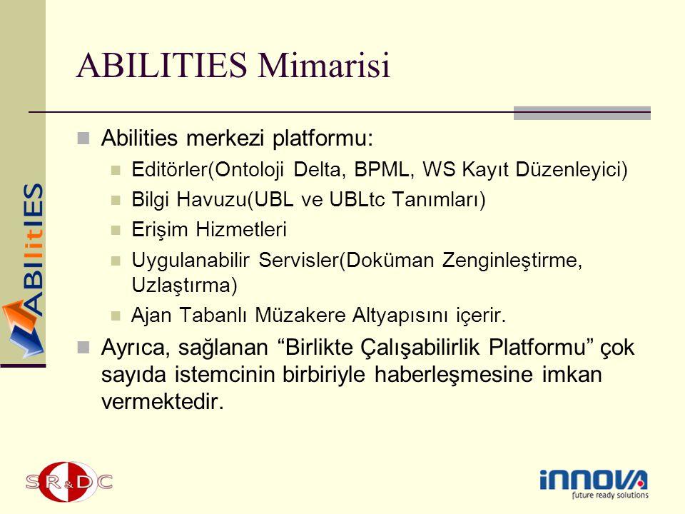 ABILITIES Mimarisi Abilities merkezi platformu: Editörler(Ontoloji Delta, BPML, WS Kayıt Düzenleyici) Bilgi Havuzu(UBL ve UBLtc Tanımları) Erişim Hizm