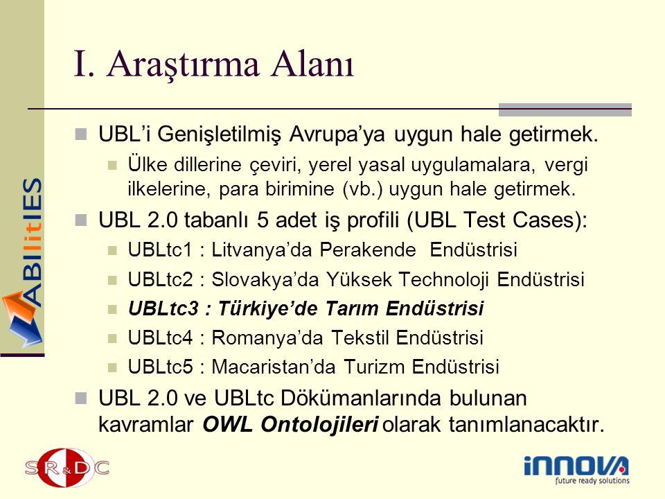 I. Araştırma Alanı UBL'i Genişletilmiş Avrupa'ya uygun hale getirmek. Ülke dillerine çeviri, yerel yasal uygulamalara, vergi ilkelerine, para birimine