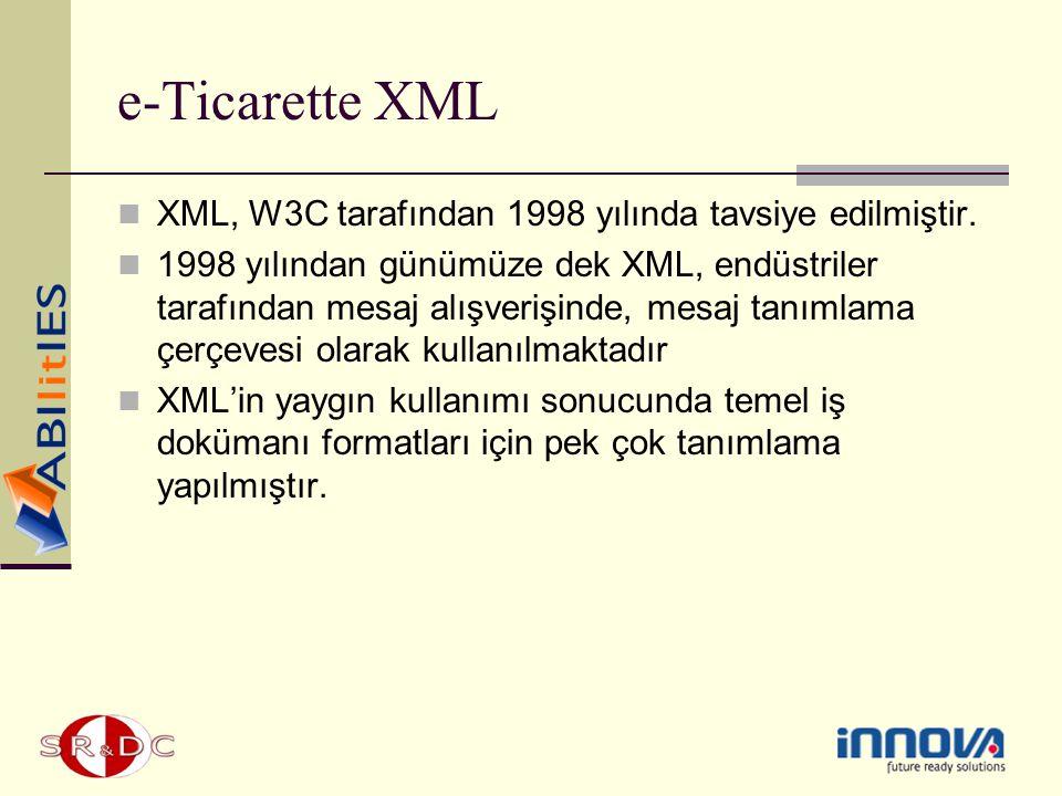 e-Ticarette XML XML, W3C tarafından 1998 yılında tavsiye edilmiştir. 1998 yılından günümüze dek XML, endüstriler tarafından mesaj alışverişinde, mesaj