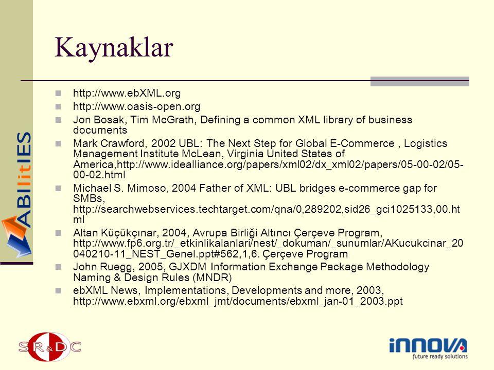 Kaynaklar http://www.ebXML.org http://www.oasis-open.org Jon Bosak, Tim McGrath, Defining a common XML library of business documents Mark Crawford, 20