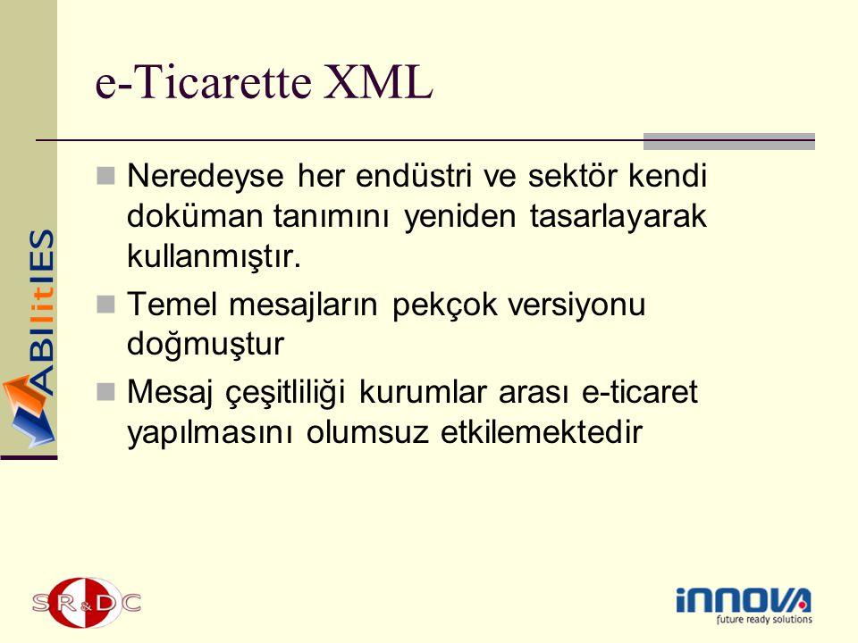 e-Ticarette XML Neredeyse her endüstri ve sektör kendi doküman tanımını yeniden tasarlayarak kullanmıştır. Temel mesajların pekçok versiyonu doğmuştur