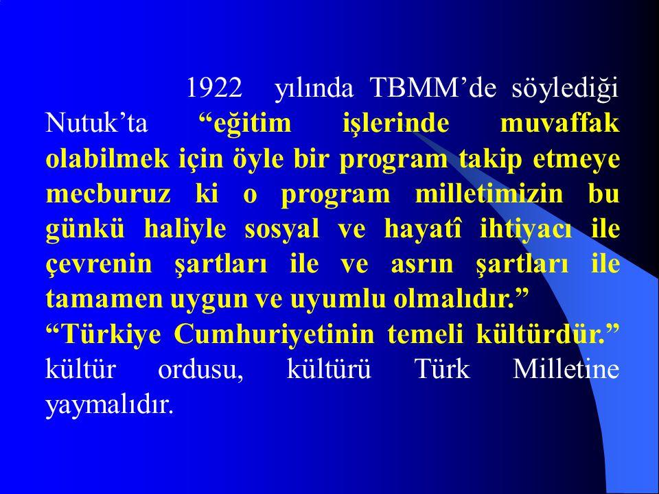 """1922 yılında TBMM'de söylediği Nutuk'ta """"eğitim işlerinde muvaffak olabilmek için öyle bir program takip etmeye mecburuz ki o program milletimizin bu"""