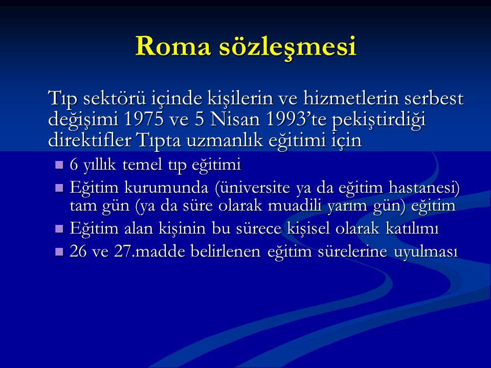 Roma sözleşmesi Tıp sektörü içinde kişilerin ve hizmetlerin serbest değişimi 1975 ve 5 Nisan 1993'te pekiştirdiği direktifler Tıpta uzmanlık eğitimi i