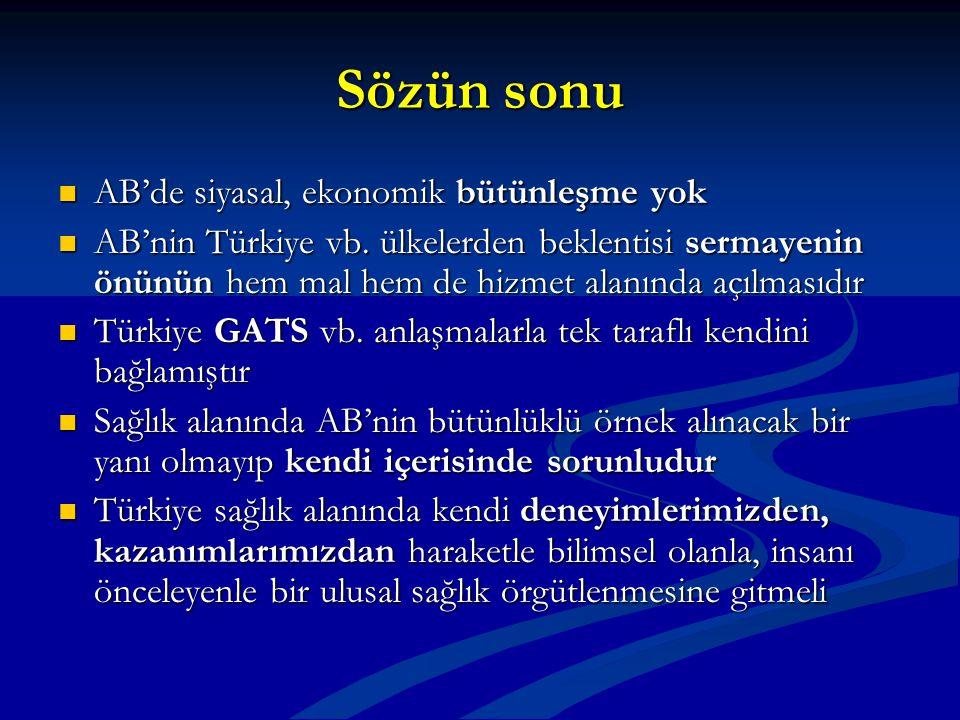 Sözün sonu AB'de siyasal, ekonomik bütünleşme yok AB'de siyasal, ekonomik bütünleşme yok AB'nin Türkiye vb. ülkelerden beklentisi sermayenin önünün he