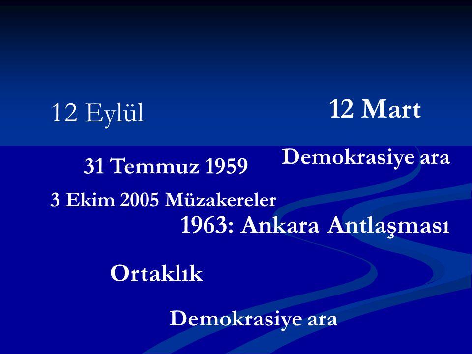 31 Temmuz 1959 1963: Ankara Antlaşması Ortaklık 12 Mart 12 Eylül Demokrasiye ara 3 Ekim 2005 Müzakereler