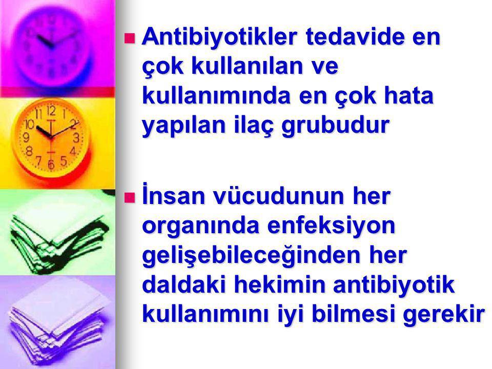 IV- Toksisitenin Artması Kombine antibiyotik tedavisi toksik yan etki görülme riskini artırır Kombine antibiyotik tedavisi toksik yan etki görülme riskini artırır Örneğin aminoglikozidlerin; vankomisin, sefalotin veya üçüncü kuşak sefalosporinlerle kombine edilmesi nefrotoksisite riskinin artışına neden olur Örneğin aminoglikozidlerin; vankomisin, sefalotin veya üçüncü kuşak sefalosporinlerle kombine edilmesi nefrotoksisite riskinin artışına neden olur