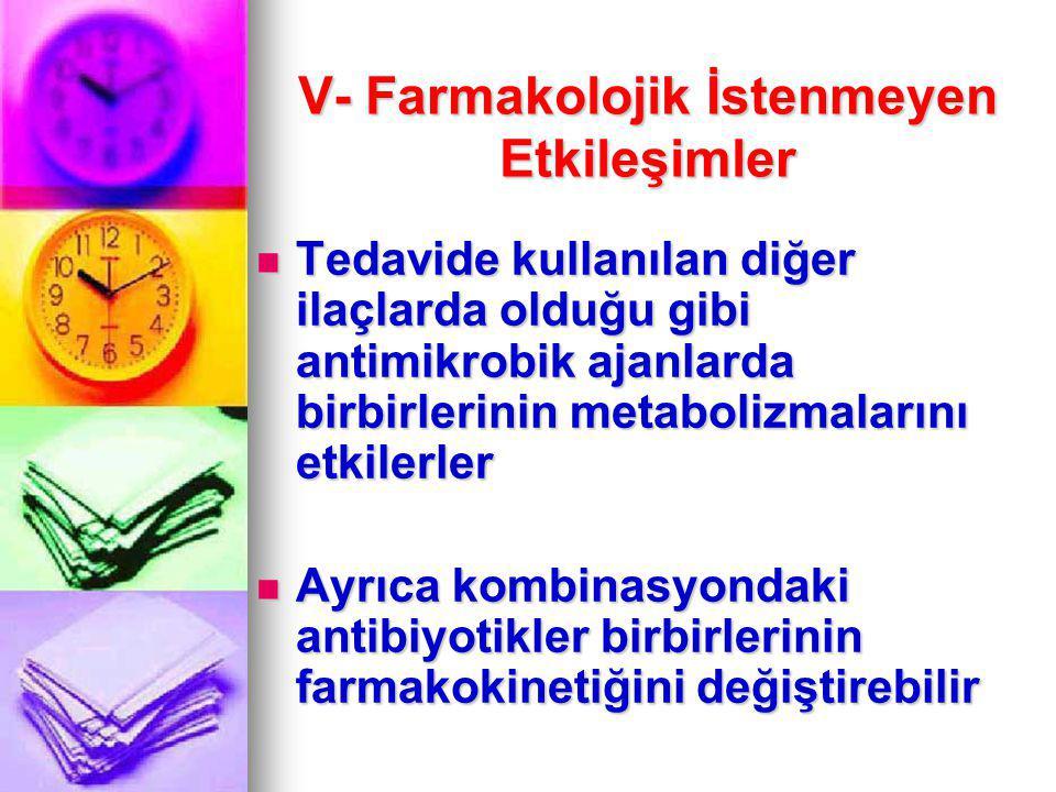 V- Farmakolojik İstenmeyen Etkileşimler Tedavide kullanılan diğer ilaçlarda olduğu gibi antimikrobik ajanlarda birbirlerinin metabolizmalarını etkiler