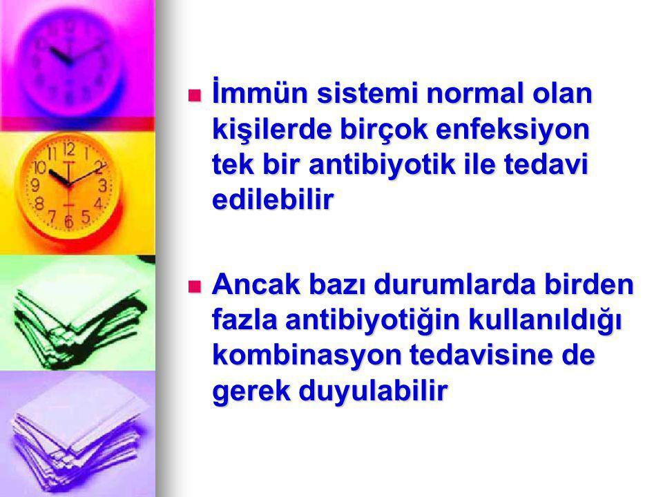 İki antimikrobiyal kombine edildiğinde in vitro olarak dört etki izlenir Aditif etki (sumasyon) Aditif etki (sumasyon) Sinerjistik etki Sinerjistik etki Antagonist etki Antagonist etki Aldırmazlık Aldırmazlık