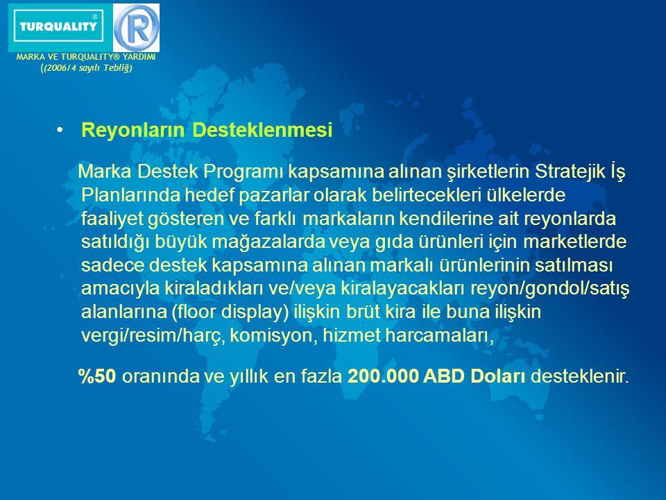 Reyonların Desteklenmesi Marka Destek Programı kapsamına alınan şirketlerin Stratejik İş Planlarında hedef pazarlar olarak belirtecekleri ülkelerde fa