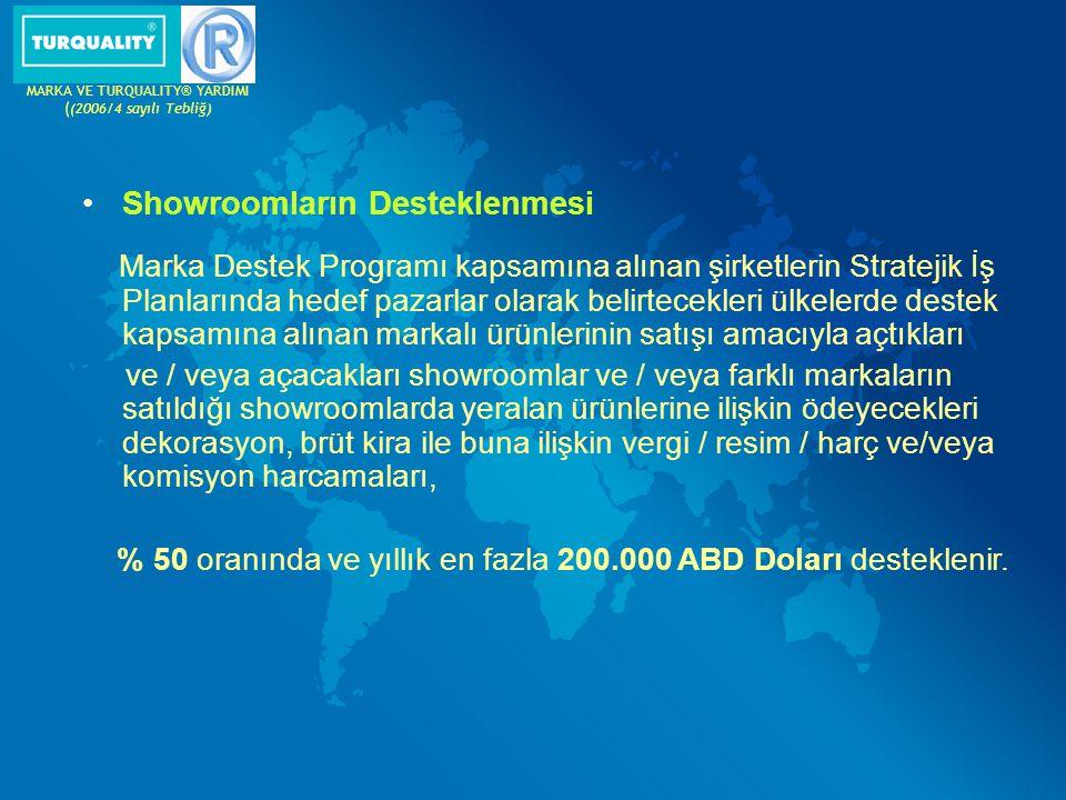 Showroomların Desteklenmesi Marka Destek Programı kapsamına alınan şirketlerin Stratejik İş Planlarında hedef pazarlar olarak belirtecekleri ülkelerde