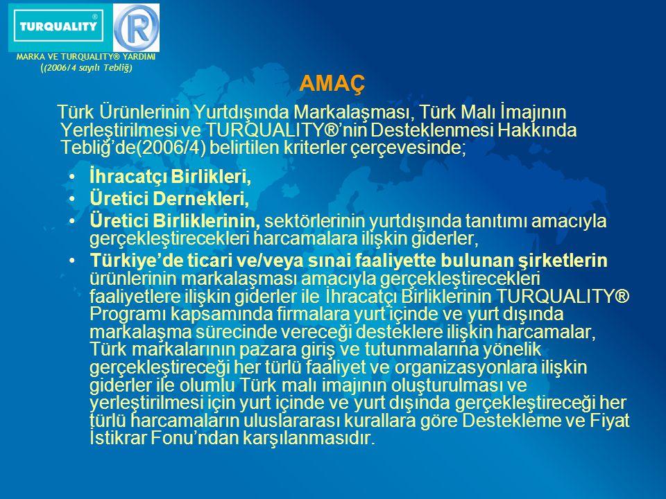 AMAÇ Türk Ürünlerinin Yurtdışında Markalaşması, Türk Malı İmajının Yerleştirilmesi ve TURQUALITY®'nin Desteklenmesi Hakkında Tebliğ'de(2006/4) belirti
