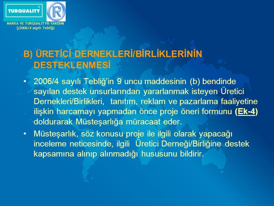 Destek kapsamına alınan Üretici Derneği/Birliği tarafından gerçekleştirilecek; Görsel ve yazılı tanıtım giderleri(Avrupa'ya yönelik yayın yapan Türk televizyonları, gazeteleri, vb.