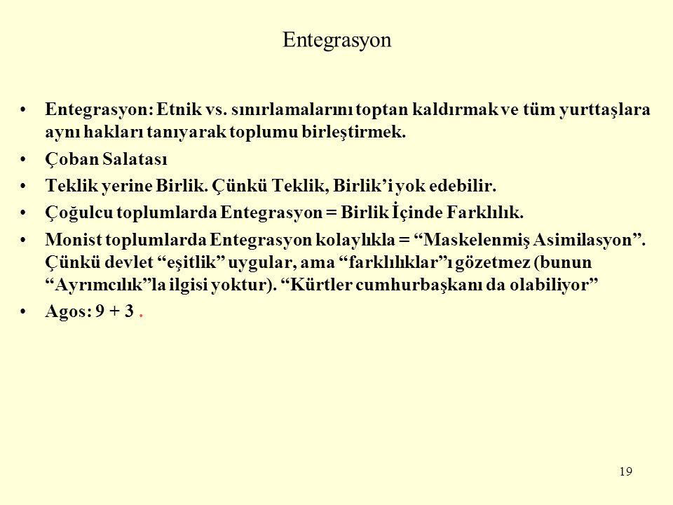 Entegrasyon Entegrasyon: Etnik vs. sınırlamalarını toptan kaldırmak ve tüm yurttaşlara aynı hakları tanıyarak toplumu birleştirmek. Çoban Salatası Tek