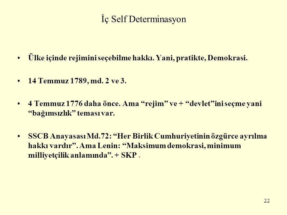 """İç Self Determinasyon Ülke içinde rejimini seçebilme hakkı. Yani, pratikte, Demokrasi. 14 Temmuz 1789, md. 2 ve 3. 4 Temmuz 1776 daha önce. Ama """"rejim"""
