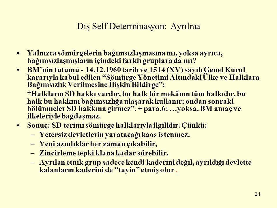 Dış Self Determinasyon: Ayrılma Yalnızca sömürgelerin bağımsızlaşmasına mı, yoksa ayrıca, bağımsızlaşmışların içindeki farklı gruplara da mı? BM'nin t