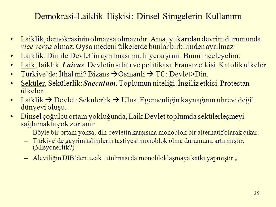 Demokrasi-Laiklik İlişkisi: Dinsel Simgelerin Kullanımı Laiklik, demokrasinin olmazsa olmazıdır. Ama, yukarıdan devrim durumunda vice versa olmaz. Oys