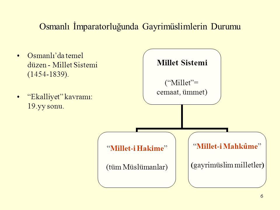 """Osmanlı İmparatorluğunda Gayrimüslimlerin Durumu Osmanlı'da temel düzen - Millet Sistemi (1454-1839). """"Ekalliyet"""" kavramı: 19.yy sonu. Millet Sistemi"""