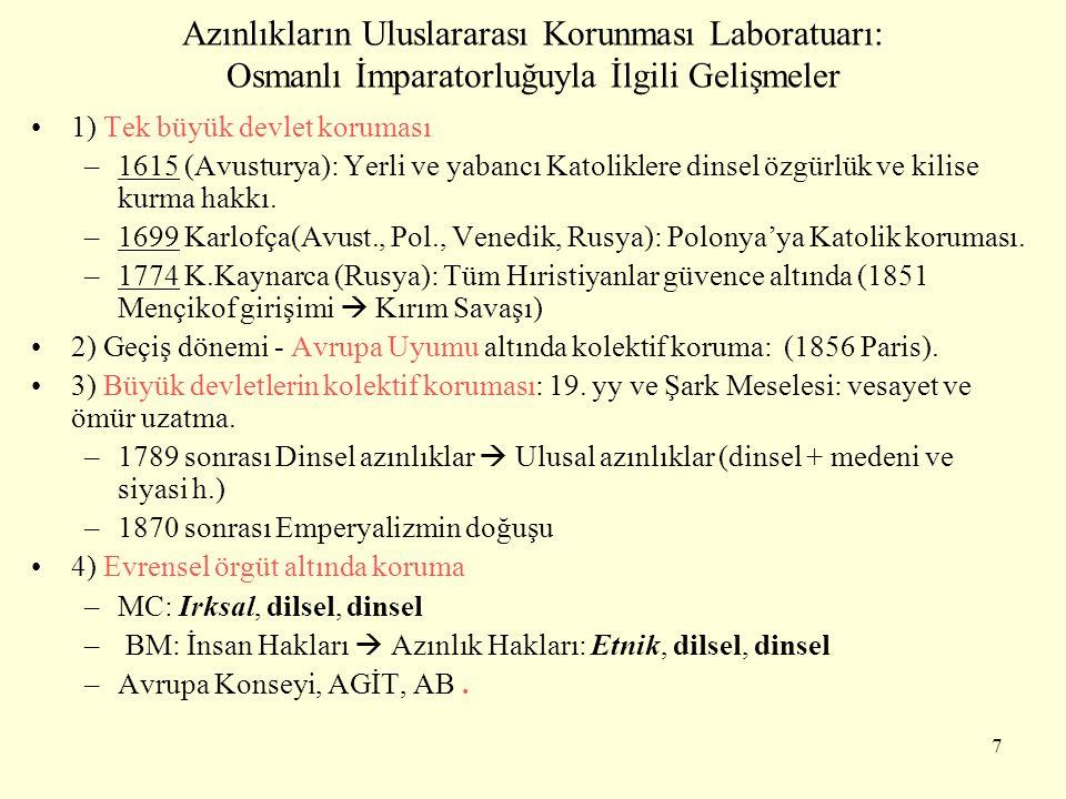 Azınlıkların Uluslararası Korunması Laboratuarı: Osmanlı İmparatorluğuyla İlgili Gelişmeler 1) Tek büyük devlet koruması –1615 (Avusturya): Yerli ve y