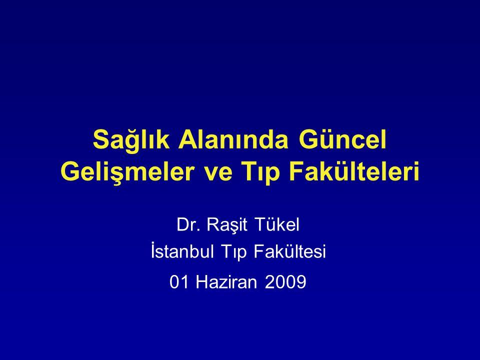 Sağlık Alanında Güncel Gelişmeler ve Tıp Fakülteleri Dr. Raşit Tükel İstanbul Tıp Fakültesi 01 Haziran 2009