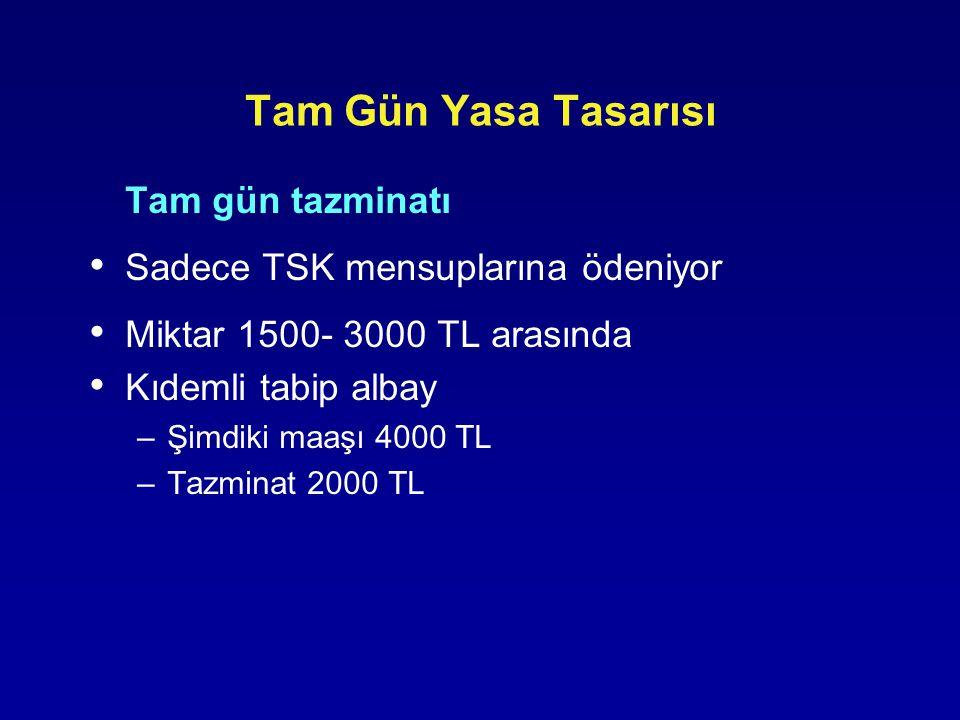 Tam Gün Yasa Tasarısı Tam gün tazminatı Sadece TSK mensuplarına ödeniyor Miktar 1500- 3000 TL arasında Kıdemli tabip albay –Şimdiki maaşı 4000 TL –Taz