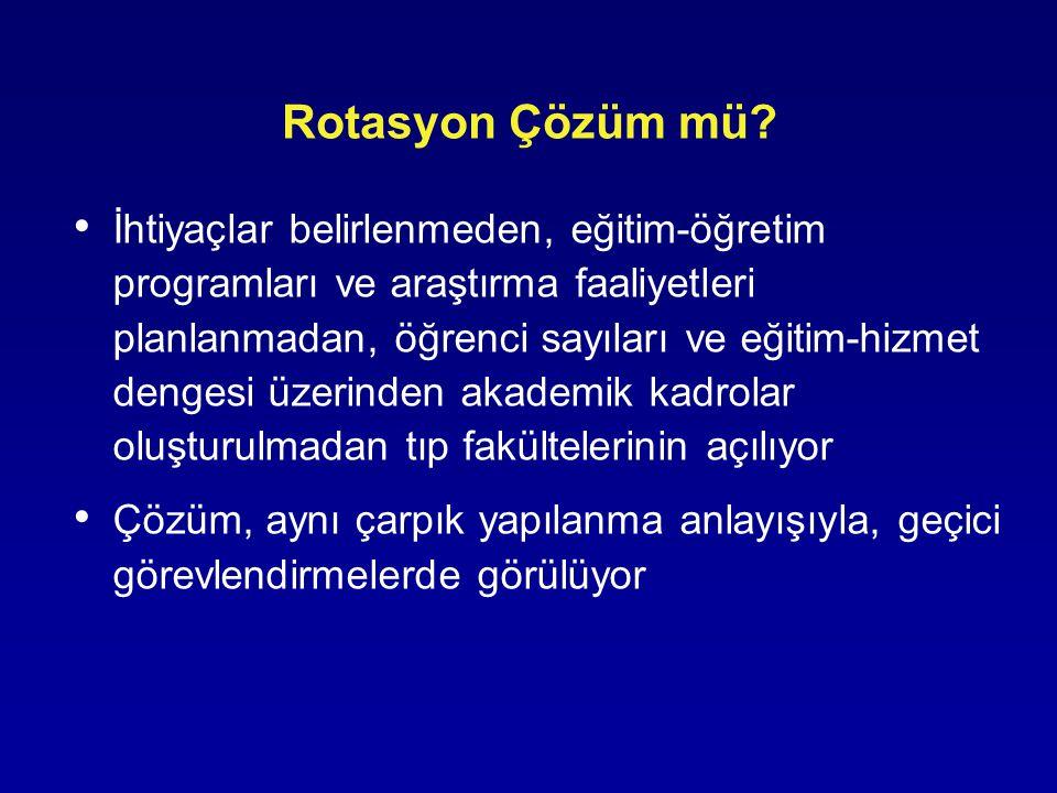 Rotasyon Çözüm mü? İhtiyaçlar belirlenmeden, eğitim-öğretim programları ve araştırma faaliyetleri planlanmadan, öğrenci sayıları ve eğitim-hizmet deng