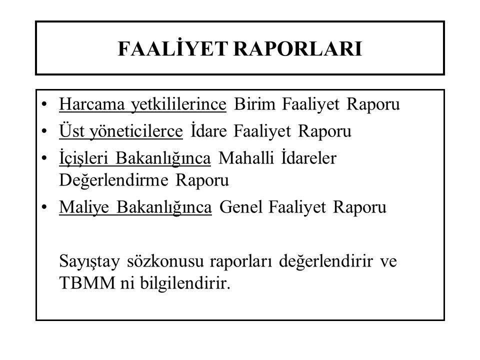 FAALİYET RAPORLARI Harcama yetkililerince Birim Faaliyet Raporu Üst yöneticilerce İdare Faaliyet Raporu İçişleri Bakanlığınca Mahalli İdareler Değerle