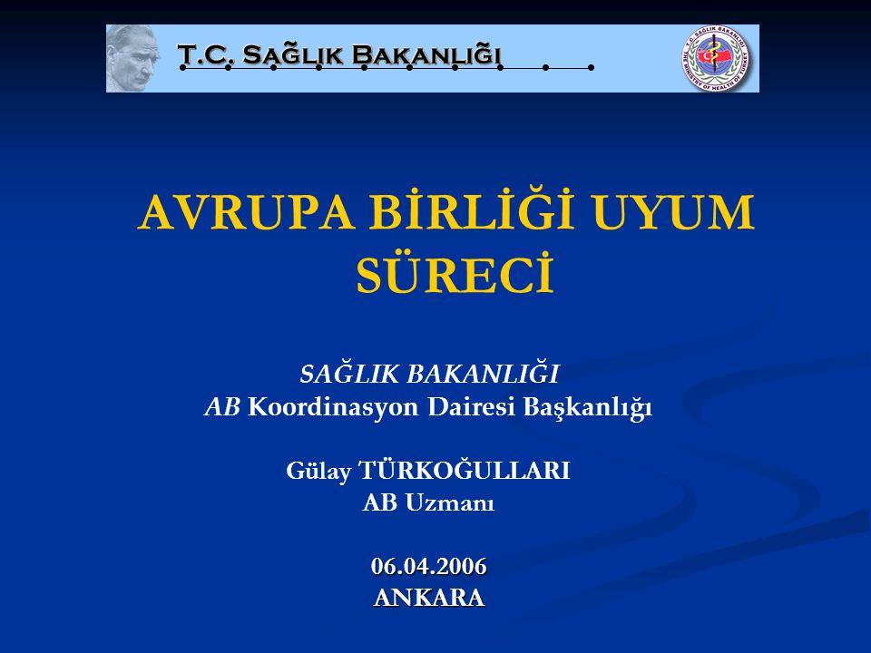 Teşekkürler... Gülay TÜRKOĞULLARI AB Uzmanı gulay.turkogullari@saglik.gov.tr