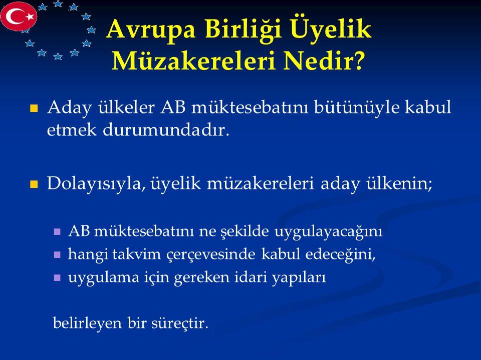 Avrupa Birliği Üyelik Müzakereleri Nedir? Aday ülkeler AB müktesebatını bütünüyle kabul etmek durumundadır. Dolayısıyla, üyelik müzakereleri aday ülke